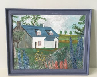 Mid century simplistic painting, countryside cottage and garden flowers, with old violet hand painted frame.