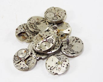 Quartz clock parts watch movements for craft Steampunk jewelry metal parts assemblage art mixed media old watch diy making watch recycle