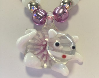 White & Pink Lampwork Murano Glass Cat Pendant Necklace