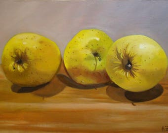 Three apples, original oil painting by Anne Zamo