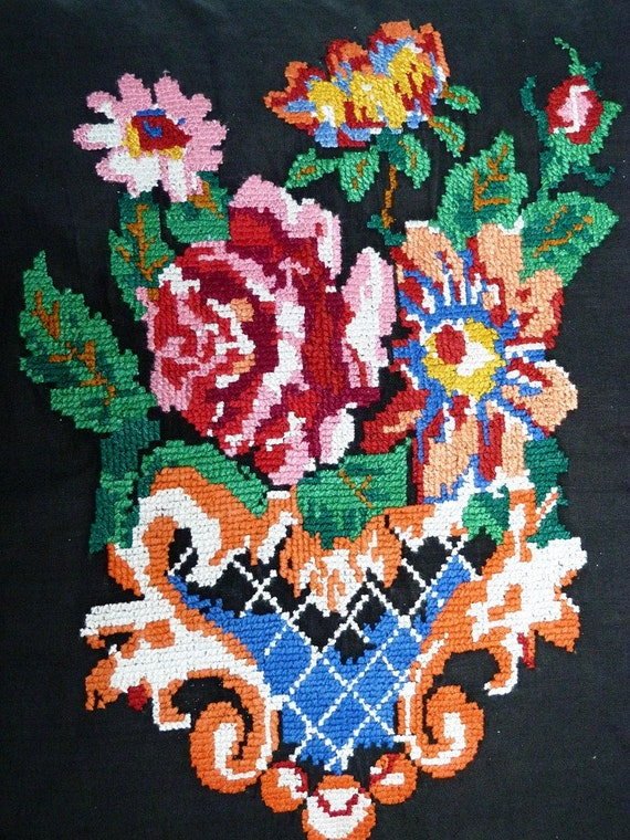Vintage ukrainian embroidery flowers in basket embroidered
