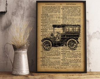 Car Print Vintage Car Decor Cave Decor, Garage Wall Art, Gift for him, Gift for mechanic, mechanic gifts, Antique Car Poster wall art (C02)