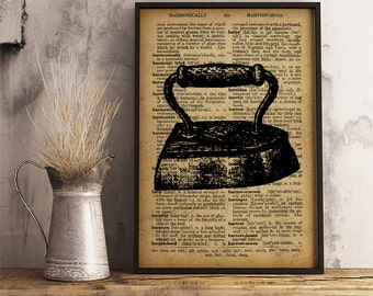 Old Iron Wall Art Print, Rustic Laundry Room Antique Iron Vintage style Print, Retro Iron sewing workshop decor(V20)