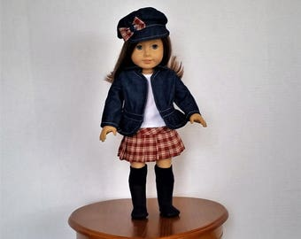 Denim and Plaid is a handmade outfit to fit an 18 inch doll such as American Girl and others