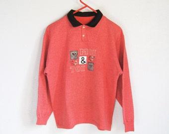 "VINTAGE Cute Kitsch Pink Salmon ""Moi & Toi"" Love Hearts Flowers Sweatshirt - Size S/M"