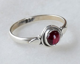 Red Garnet Ring, Garnet Stacking Ring, Barely There Ring, Sterling Silver Ring, Minimalist Ring, January Birthstone Ring,