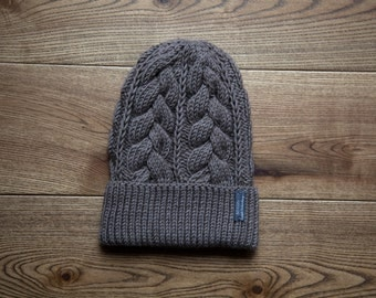 Taupe Kid's Hat with cables