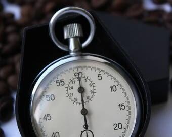 Vintage Soviet stopwatch AGAT, Mechanical chronometer USSR, Sports equipment, Working.