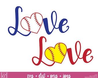 2 Baseball Heart svg - Softball Heart svg - Love Baseball svg - Love Softball svg - Baseball Mom svg - Baseball Heart Shirt svg