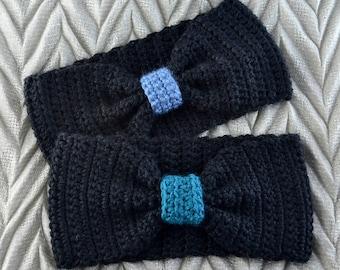 Crochet Headband, Women's Headband, Teen's Headband, Ear Warmer, Bow Headband, Black, Blue