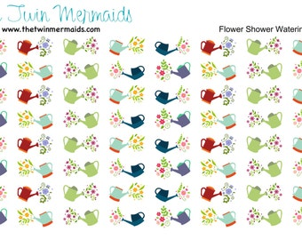 Flower Shower Watering Cans Planner Stickers
