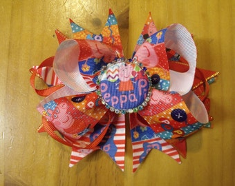 """Peppa Pig 6"""" Handmade Boutique Layered Hair Bow - Red, Orange & Multi Color - Girls - Alligator Hair Clip"""