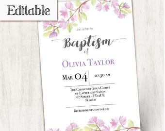 INSTANT DOWNLOAD, Editable LDS Baptism Invitation Girl Editable,  Girl Invitation Purple flowers, cherry blossom invitation, No Photo Needed