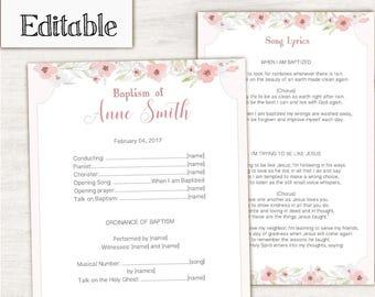 Baptism Program LDS Printable Digital, Editable PDF, Songs Handout Girl Baptism Pink Flowers, Baptism Template, Girl Baptism