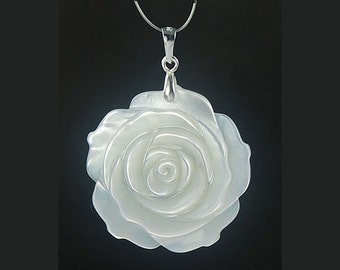 925 Silver 29mm Hand-carved White Mother of Pearl Seashell Rose Pendant P029