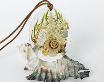Pendant, crystal clear epoxy resin, botanical jewelry, sea materials