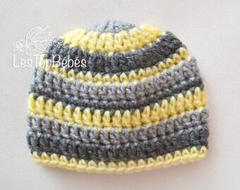 Striped Baby Boy Hat, Newborn Hat, Multicolored Baby Hat, Baby Shower Gift, Hospital Boy Hat, Baby Boy, Hats for Boys