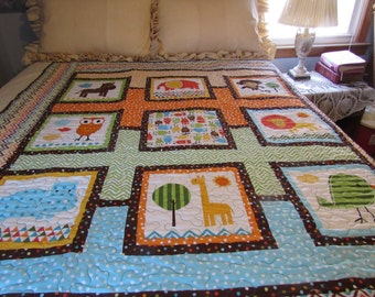 Homemade handmade quilt, animal quilt, boys colorful quilt, toddler bed quilt, owl quilt, nursery decor, baby quilt