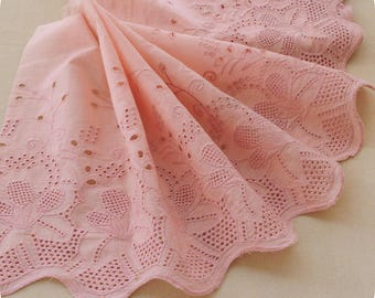 1y _ 30 cm  Stunning Broderie Anglaise  Lace , in Peach Color, Imported.