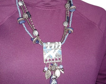 Chunky Necklace/Blue Big Necklace/Statement Necklace/90's Charm Necklace/Multi Beads Necklace/Nr.268