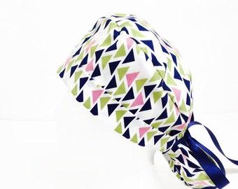Ponytail Scrub Hat Geometric