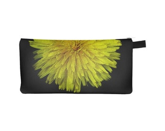 Floral Pouch Pencil Case Coin Purse Zipper Phone Small Makeup Bag Cosmetic Bag Organizer Back to School Jewelry Pouch Dandelion Yellow Black