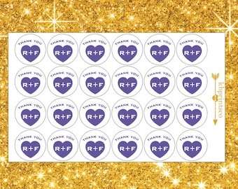 24 Quarter Sized Purple Thank You Stickers | Mini Facial Stickers