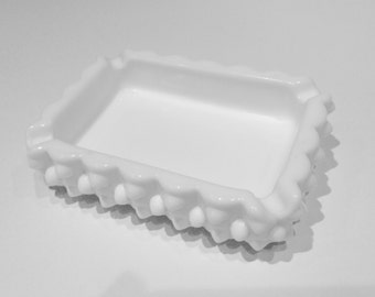 Small Vintage Milk Glass Dish, Ashtray or Business Card Holder