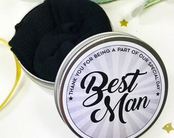 Socks in a Tin Best Man Wedding Morning Gift