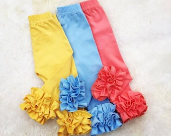Spring girls double ruffle leggigns,Easter toddler leggings, girls cornflower blue icings, peach baby girl leggings, cornyellow icings, gift