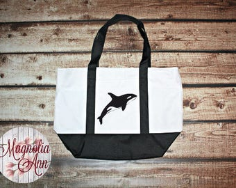 Large Killer Whale Zippered Boat Tote Bag in Royal Blue, Navy Blue & Black