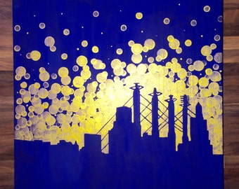 Kansas City, Missouri City Skyline Painting//Kansas City Royals//Royals fan gift