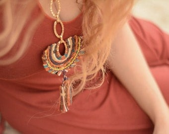 "Macrame Necklace ""Goddes"" inspired by bohemian style"