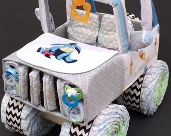 instructions on how to make a jeep diaper cake
