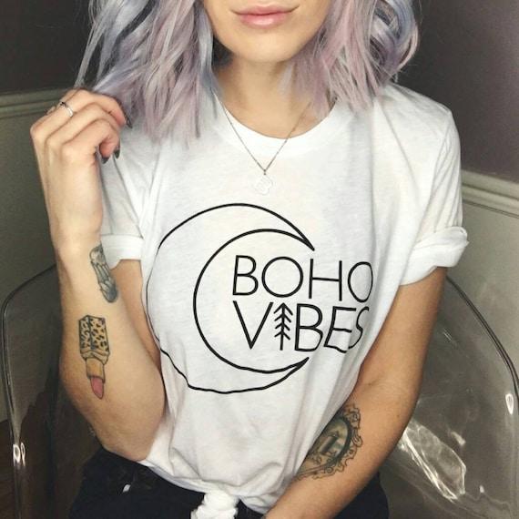 BOHO VIBES White Boyfriend Tee, Boho Vibes, Boho Tee, Boho Tshirt, Boho Shirt, Boho Clothing, Bohemian, Mama Bird, Boho, Bohemian