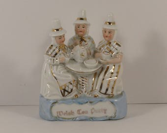 Vintage Welsh Tea Party German Porcelain Fairing Figurine.