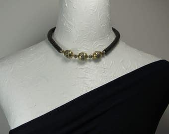 Necklace in Black Silver and Gold E 429