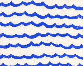 Cotton + Steel – Kujira & Star by Rashida Coleman Hale, Waves - Blue Sea