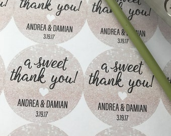 Wedding Stickers, Thank You Stickers, Wedding Thank you stickers, Thank you wedding stickers, Wedding Favors, a sweet thank you