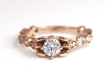 Diamond Wedding Band, Diamond Wedding Ring, Diamond Engagement Band, Diamond Engagement Ring, Antique Diamond Ring