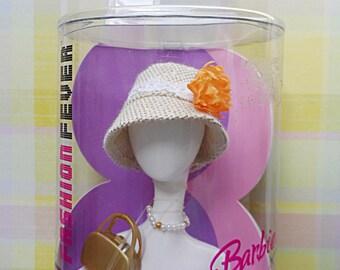 Haute Style Straw Bucket Hat ~ Gold Handbag & Pearl Choker ~.~ for Barbie ~ Retired