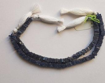 "3 strands of Aventurine Blue square beads 4-6mm 8"""