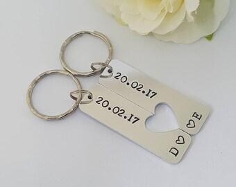 Couple Keyrings, Relationship Keyrings, Wedding, Anniversary Gift, Hand Stamped Personalised Keyrings Keychains, Boyfriend, Valentine's Gift