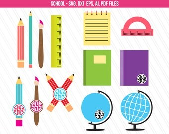 Pencil SVG, Pencil Monogram SVG, School SVG, Education Svg, Teacher Svg, Svg Files, Cricut Files, Back To School Svg -Svg, Eps, Ai, Dxf, Pdf