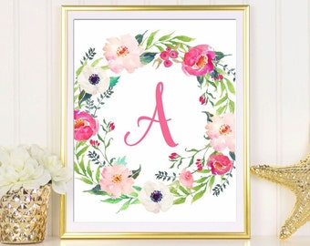 Superior Letter A Baby Name Initial Print Girlu0027s Nursery Art Print Watercolor Floral  Custom Monogram Print Customized Part 19