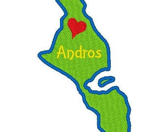 Buy 1 Take 1 Embroidery Design, Andros Island Map Embroidery Design, Andros Bahamas Map, Instant Download, 4x4 Hoop, 10 Formats