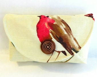 Red bird purse - spring purse - bird bag - fabric handbags - small purse - handmade handbags - gift for her - clutch purse - gift for Mom