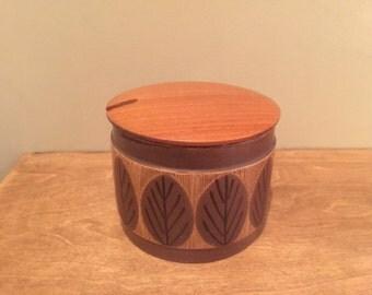 60s Design Ceramic Sugar Bowl with Wooden Lid & gap for spoon - Vintage Swedish