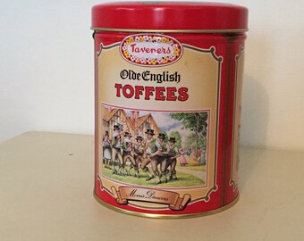 Taveners Olde English Toffees Storage Tin, with images of Morris Dancers, Cricket Scene & Country Market - Excellent Condition