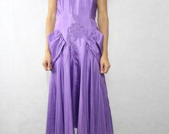 VINTAGE Mr K Purple 80s Evening Dress Size XS-S